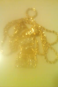 14k gold rope chain with trap Bart Simpson pendant plated rhinestones