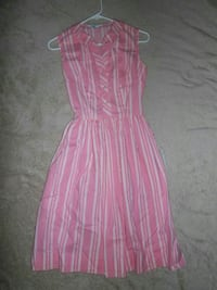 women's pink and white striped sleeveless dresss