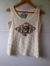 white and gray floral tank top