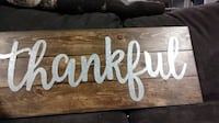brown and grey Thankful painted board