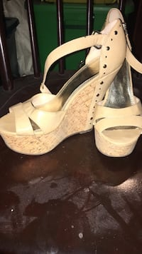 women's white and silver ankle strap open toe wedge Baltimore, 21224