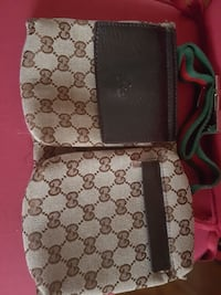 brown and gray Gucci monogrammed crossbody bag