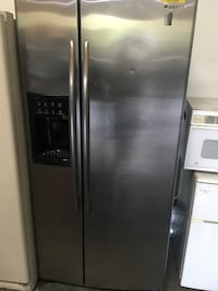 silver side-by-side refrigerator