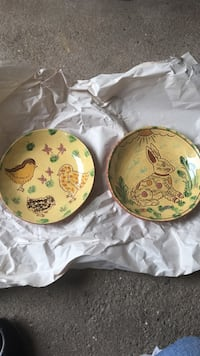 Breininger Pottery Redware Easter Plates - Collectable Metuchen, 08840