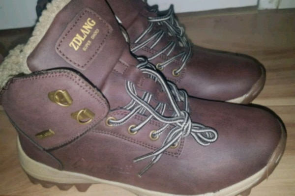 pair of brown leather