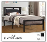 Brand new black metal bed frame with leather headboard on sale  548 km
