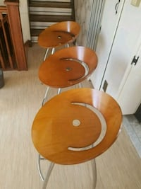 3 bent wood bar stools Toronto