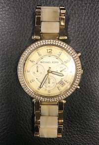 round gold Michael Kors chronograph watch with link bracelet Calgary, T2R