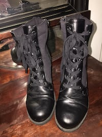 pair of black leather boots Spokane Valley, 99216