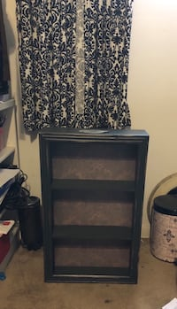Beautiful decorated wall cabinet shelf.  weathered look to the paint.