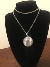 Silver chain link necklace with round pendant Mount Rainier, 20712