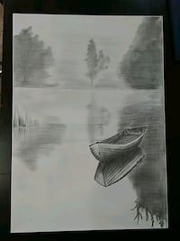 Pencil drawing on a canvas.  Toronto, M1B 1J5