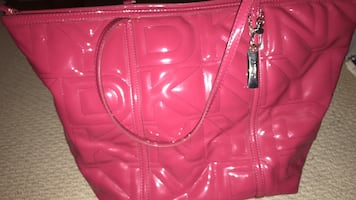Pink DKNY patent leather tote bag