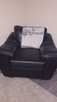 black leather sofa chair with throw pillow Belleville, K8N 3Z7