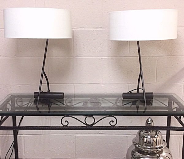 Two wrought iron base lamps with drum shades
