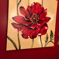 Two poppy paintings on canvas by Ruth Bush. Rockville, 20850