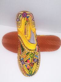 women&men yellow Moroccan Handmade 100% Leather Slip on Shoes Sz 8-9