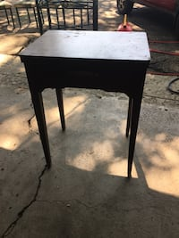 Old sewing machine and table