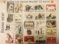 retro assorted-color cat refrigerator magnet lot