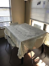"""54""""x78"""" White Lace Table Cloth"""