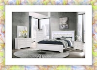 White Bedroom Set with Mattress wit LED light Silver Spring, 20906