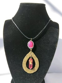 Wire wrapped gold and red crystal pendant necklace