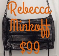 """Authentic Rebecca minkoff '5 zip' crossbody bag black metallic rebecca minkoff mini 5-zip dimensions: 12""""w x 7""""h w/ 22"""" strap drop. metallic leather crossbody with removable chain shoulder strap with studded leather inset. zip top with fringe pull.  In Ex"""