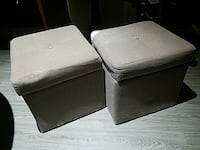 two gray ottoman