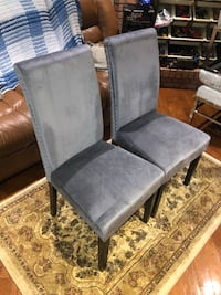 New dark gray velvet  dining room chairs see pictures $120 Each contact Richard  [TL_HIDDEN]  Toronto, M9V 4T4