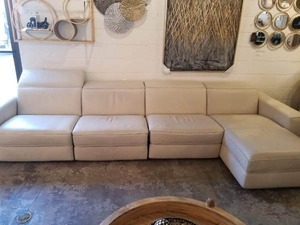 Magnificent Natuzzi 4 Pc Brio Sectional Recliner Sofa Off White Leather Pabps2019 Chair Design Images Pabps2019Com