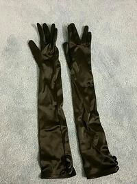 Black Satin over elbow gloves, size small Narberth