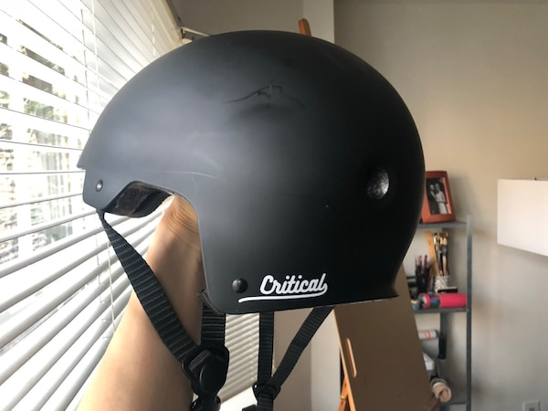 black and gray half-face helmet