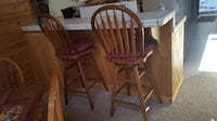 2 Pine Bar stools with cushions WHITTIER