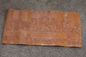 Last Supper mural on leather