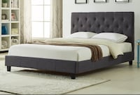 Brand new charcoal queen fabric platform bed on sale  多伦多, M1V 1E9