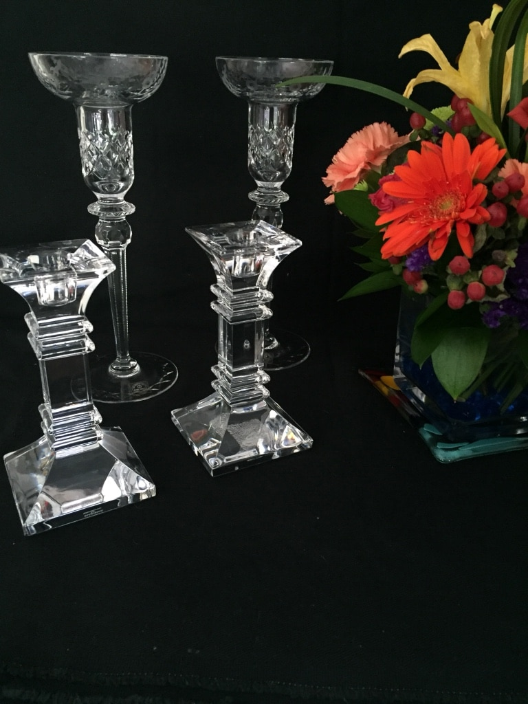 Photo (2) sets of candle holders.