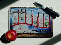 """Greetings From Austin"" Textured Glass Cutting Board Bethesda, MD, USA"