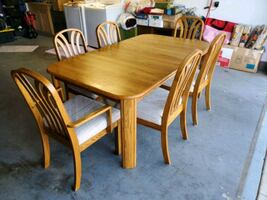 Solid Oak Dining Set (Table and six chairs).