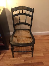 Antique black and gold chair with wicker seat Washington, 20002