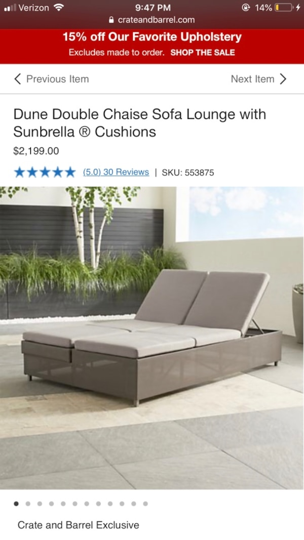 Brilliant Crate And Barrel Dune Double Chaise Sofa Lounge With Sunbrella Cushions Ibusinesslaw Wood Chair Design Ideas Ibusinesslaworg