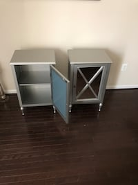 Two white wooden side tables silver $40 for both. Severn, 21144