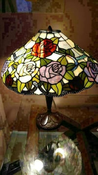 Desk size lamp.with Rose print.
