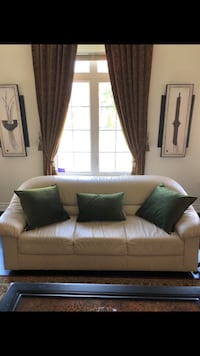 Cream genuine leather couch Vaughan