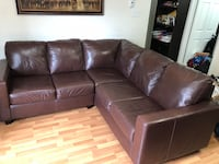 Leather Couch & Stanley Chinese Cabinet Brampton, L6S