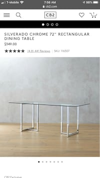 CB2 glass table top(glass top only) Baltimore, 21205