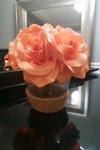 Fake flowers in vase. Flowers are Peach in color. Mississauga, L5M