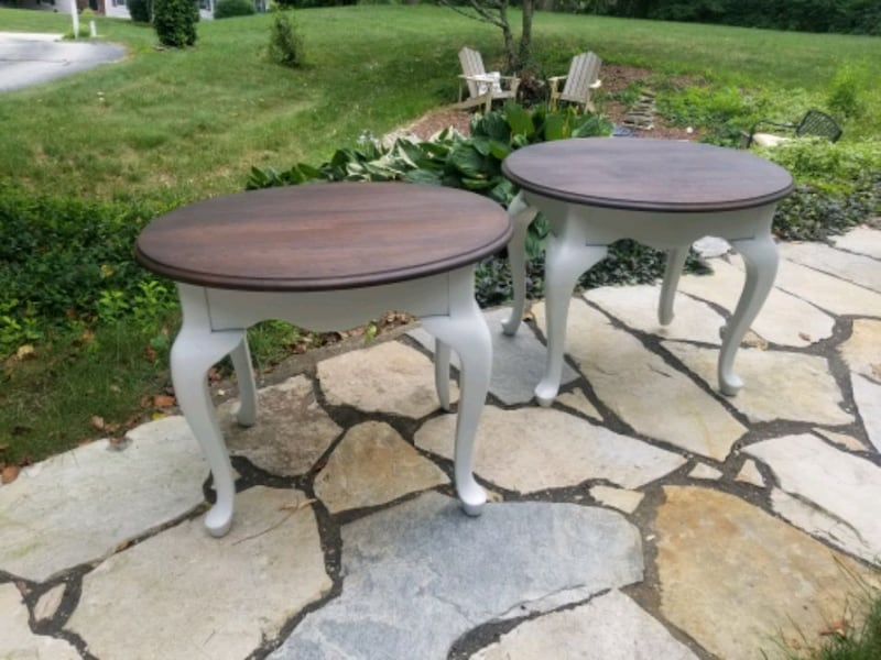 Rustic refinished side tables. 84c88ded-c02e-4560-b7d7-7624e4c549c2