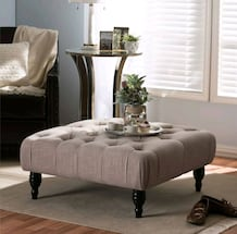 NEW - Modern Concepts - Contemporary Tufted Linen Coffee Table/Ottoman