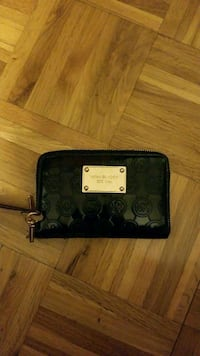 black and gray monogram Michael Kors leather long wallet