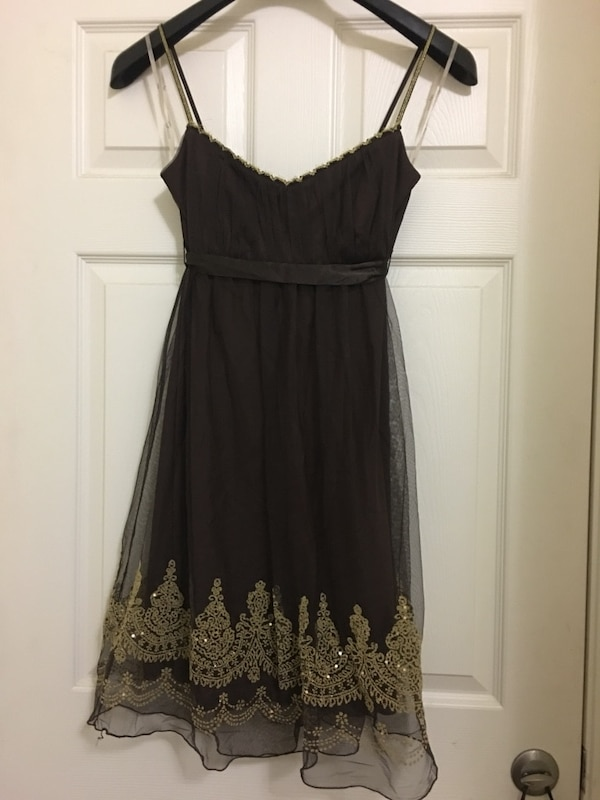 EUC JUNIORS SIZE LARGE BROWN GOLD DRESS PROM HOMECOMING BRIDESMAID